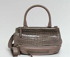 New $2395 Givenchy Neutral Medium Croc Leather Pandora Messenger Bag