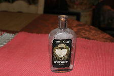 Antique Fine Old Whiskey A Blend Glass Bottle-EMPTY-Union Made-Warranted Flask