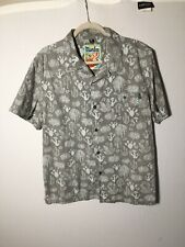mambo loud shirt Mens Grey Patterned Hawaiian Button Shirt Size XL Short Sleeve