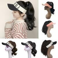 Women Curly Wavy Ponytail Wig Hairpiece Hair Extension with Visor Cap Novelty
