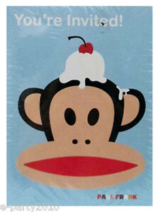 PAUL FRANK INIVTATIONS & THANK YOU NOTES (8ct. ea) ~ Birthday Party Supplies