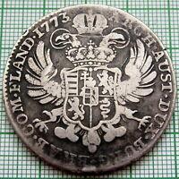 AUSTRIAN NETHERLANDS - BELGIUM MARIA THERESIA 1773 1 KRONEN THALER, SILVER