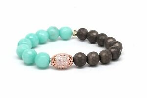 Druzy Rose Gold Accent Bracelet With Sea Green And Dark Brown Beads