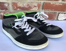 VANS Mid Tops Skate Shoes BLACK w/ Neon Green Suede & Leather Youth Sz 5 5Y