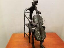 Cast Iron Cello Player Statue Figure Player Musician