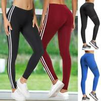 Women's Push Up Yoga Pants High Waist Leggings Striped Fitness Workout Trousers