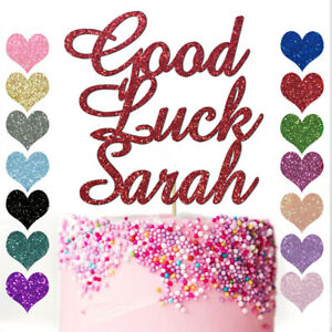 Peronalised Any Name Good Luck Custom Cake Topper Party Decoration Glitter Card