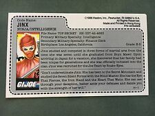 Vintage 1986 Hasbro GI Joe Jinx Ninja Intelligence File Card