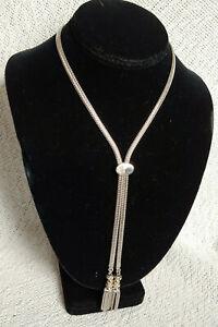 Vintage MONET Slide Lariat Tassel Necklace Silver Tone Signed