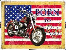 BORN TO ride. HARLEY-DAVIDSON SU UN bandiera americana, grande in metallo/