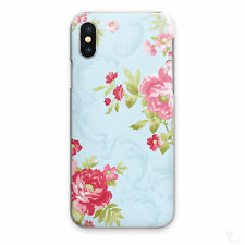 BLUE FLORAL PRINT PHONE CASE ROSE RED HARD COVER FOR APPLE SAMSUNG HUAWEI SONY..