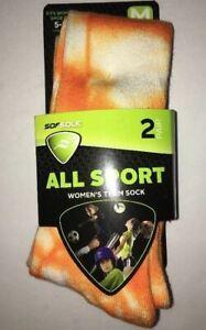 SOFSOLE Women's All Sport Team Socks Shoe Size 5-10 Medium Orange/White 2 Pair