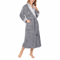 New Carol Hochman Ladies Gray Plush Cozy Robes Patch Pockets