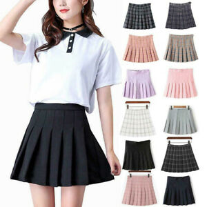 Women's Girl's High Waist Plaid Casual Pleated Tennis Style Mini Skater Skirt