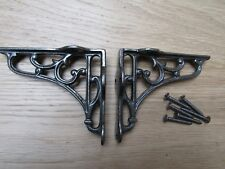 """4"""" PAIR OF ANTIQUE IRON cast Victorian scroll ornate shelf support wall brackets"""