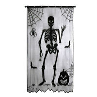 Halloween Window Curtains Tablecloth Spiderweb Bats Skeleton Scarf Party Decor