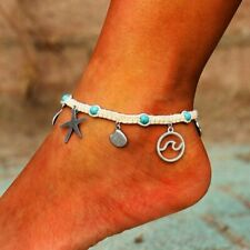 Starfish Shell Rope Anklet Bracelet Charm Surfer Beach Silver Foot Ankle Gifts