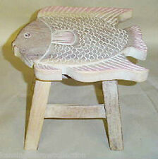 Footstools - Wooden Fish Footstool - White Wash Finish - Nautical Foot Stool
