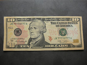 RARE + UNIQUE US $10 2009 SERIES AMAZING LUCKY 7- 7'S CIRCULATED  CONDITION
