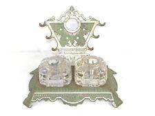 Antique Art Deco Victorian Cast Iron Desktop Inkwell Stand Fountain Pen Holder