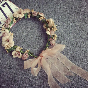 Beach Party Crown Bride Wedding Headband Floral Headdress Flower Hairband Gift