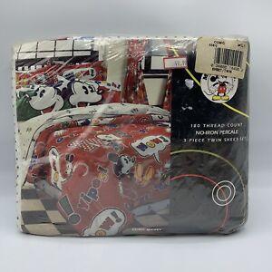 VTG Walt Disney Co. Comic Mickey Mouse Flat Twin Bed Sheet Brand New 3 Piece