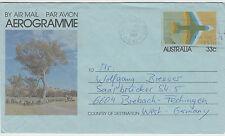 Stamp Australia aerogramme 33c jet sent 1981 Townsville Queensland to Germany