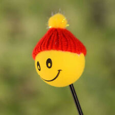 Funny Happy Smiley Face With Wool Hat Car Antenna Pen Topper Aerial Ball EVA