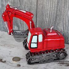 Spardose Bagger Kettenbagger Baufahrzeug Bauarbeiter rot Sparschwein 19cm groß