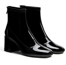 Women Patent Leather Square Toe Zip Up Ankle Boots Motor Shoes Shiny High Heel
