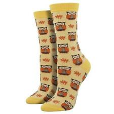 Socksmith Women's Bamboo Crew Socks Woodland Owls Birds Yellow Novelty Footwear