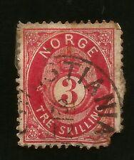 Noruega tre Skillb vieja placa V. 1872-traer-Filler-malas esquina