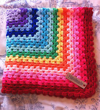 Crochet  Baby Blanket  rainbow- cot/pram/car seat/moses basket Red Border