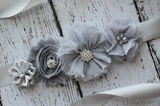 Flower Sash, grey sash,#2 , flower Belt, maternity sash, wedding sash