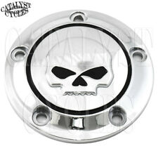 Chrome Willie G Skull Ignition Timing Cover for Harley Twin Cam Points Cover