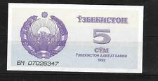 UZBEKISTAN #63a 1992 UNUSED  MINT OLD 5 SUM CURRENCY BANKNOTE NOTE PAPER MONEY