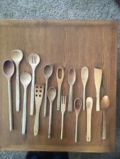 Vintage Wooden Spoon Lot of 15 Primitive Old Farmhouse Kitchen Tool Wood Fork