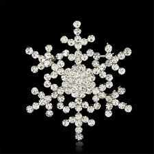 Buy 2 get 1 free rhinestone crystal silver snowflake Christmas brooch pin