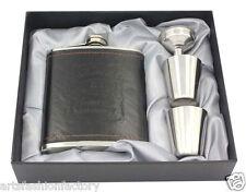 Premium Stainless steel hip flask Gift Set Jack Daniel flagon w/ 2 Shot Glasses