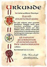 Urkunde FLIESENLEGER DIN A4  HW Diplom Arbeits-Jubiläum