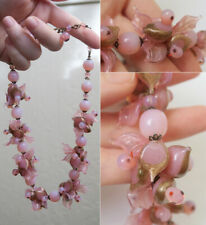 Vintage Murano Opaline Art Glass Pink Duck Bead Necklace Gold Dust Brass Spacers