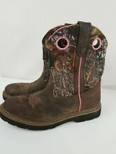 Nice! John Deere Camo Brown & Pink Western Boots Youth Size 5M JD3198