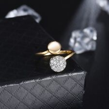 Promise Women Lady Cubic Zirconia Two Gold Tone Fashion Party Adjustable Ring