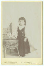 RARE VINTAGE GIRL WITH A VICTORIAN ERA TOY: Young Girl with a Goat Cabinet Card