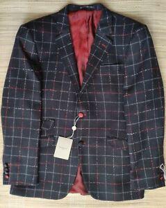 Claudio Lugli Premium blazer Wool mix, stitched bicolor check, Slim Fit 44R