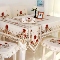 White Embroidered Lace Tablecloth Rectangle Table Cloth Valentine's Day Decor