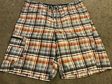 COLUMBIA Rugged Gray Orange Plaid Casual Cargo Board Surf Swim Shorts mens 36
