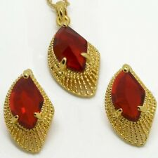 Necklace Earrings Set Uk Gift Boxed Pretty Ruby Red Gold Plated Crystal