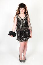 vintage inspired Gothic punk Flapper style dress  velvet sequin beaded studded