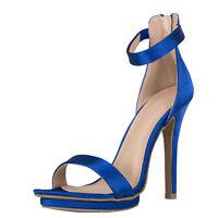 New Classic Open Toe Elastic Ankle Strap Platform Stiletto Heel Pump Sandal Shoe